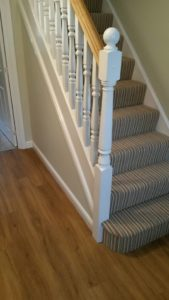 Stripe carpet on stairs